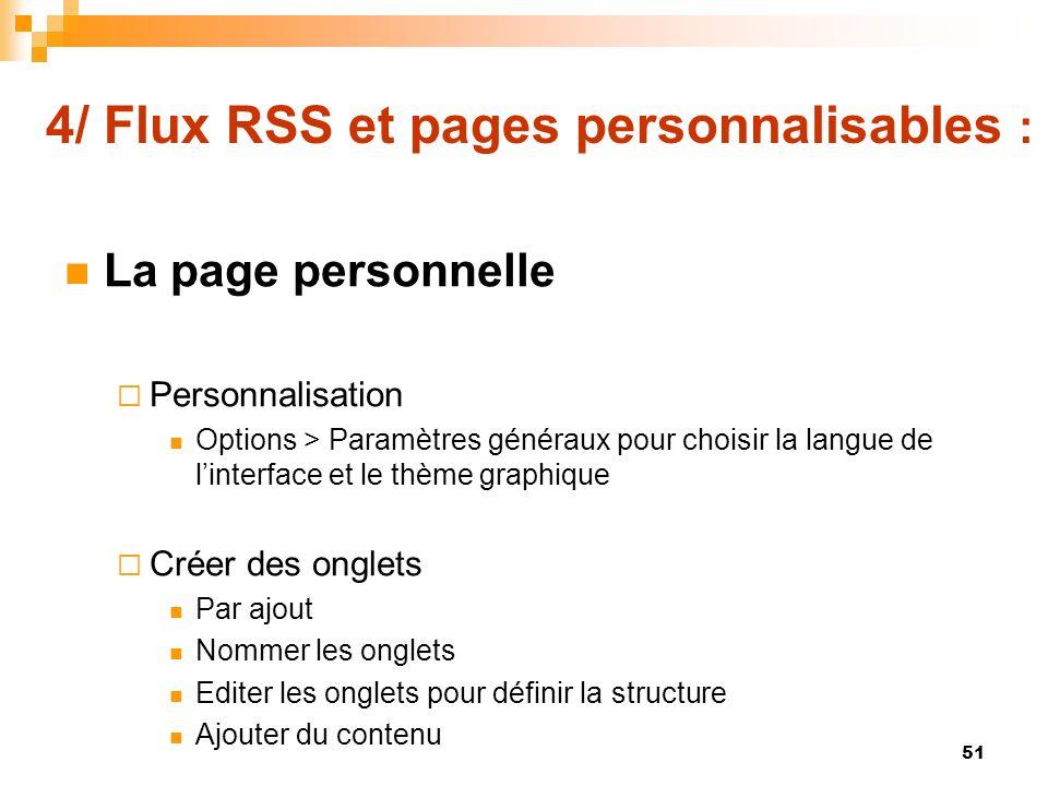 4/ Flux RSS et pages personnalisables :