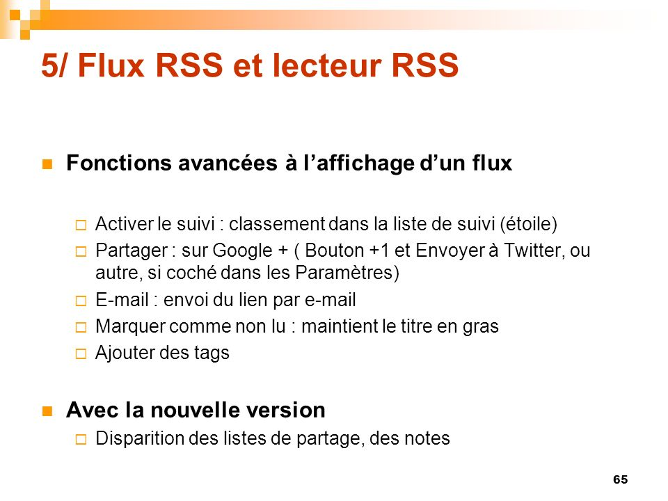 5/ Flux RSS et lecteur RSS