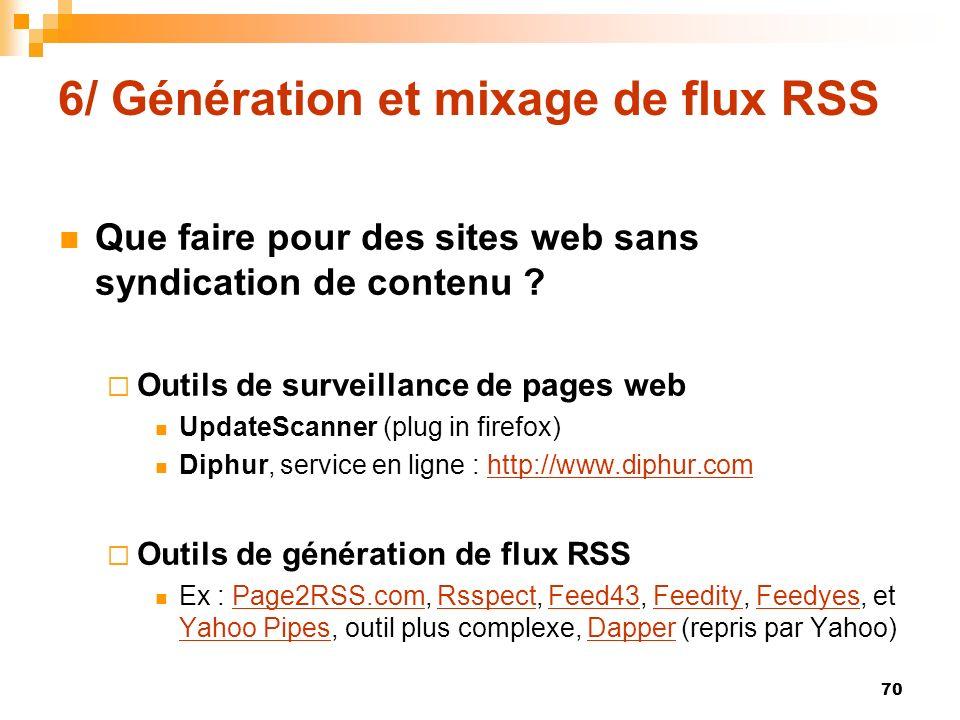 6/ Génération et mixage de flux RSS