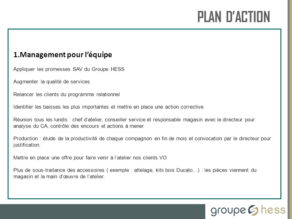 PLAN D'ACTION RESSOURCES HUMAINES Management pour l'équipe