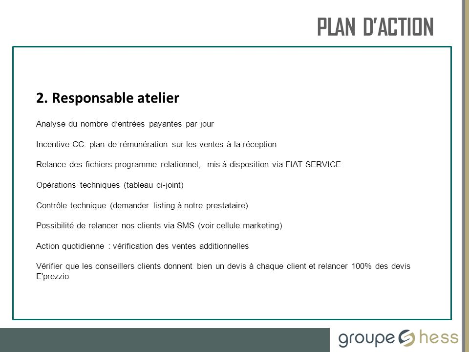 PLAN D'ACTION RESSOURCES HUMAINES 2. Responsable atelier