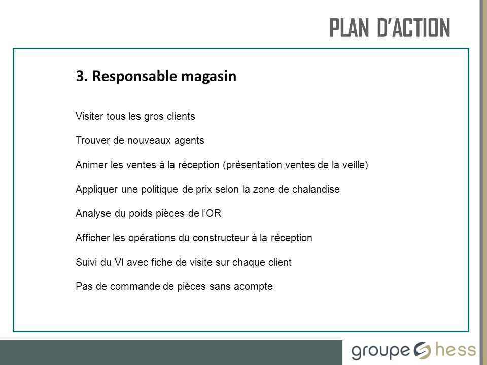 PLAN D'ACTION RESSOURCES HUMAINES 3. Responsable magasin