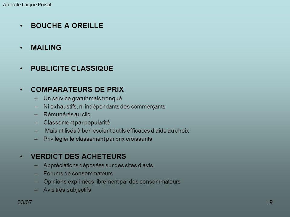 BOUCHE A OREILLE MAILING PUBLICITE CLASSIQUE COMPARATEURS DE PRIX