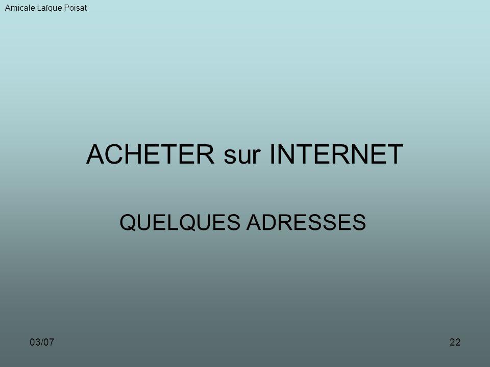Amicale Laïque Poisat ACHETER sur INTERNET QUELQUES ADRESSES 03/07