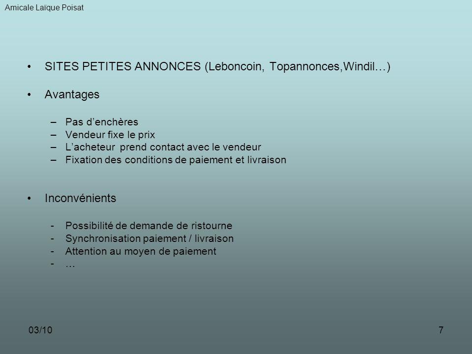 SITES PETITES ANNONCES (Leboncoin, Topannonces,Windil…) Avantages