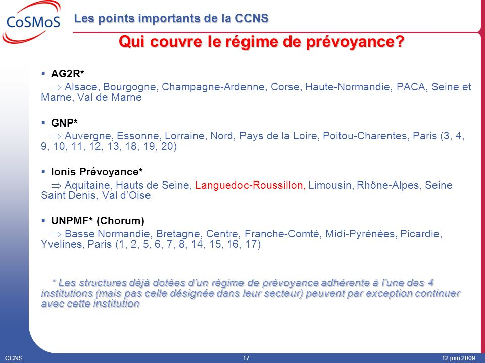 Les points importants de la CCNS