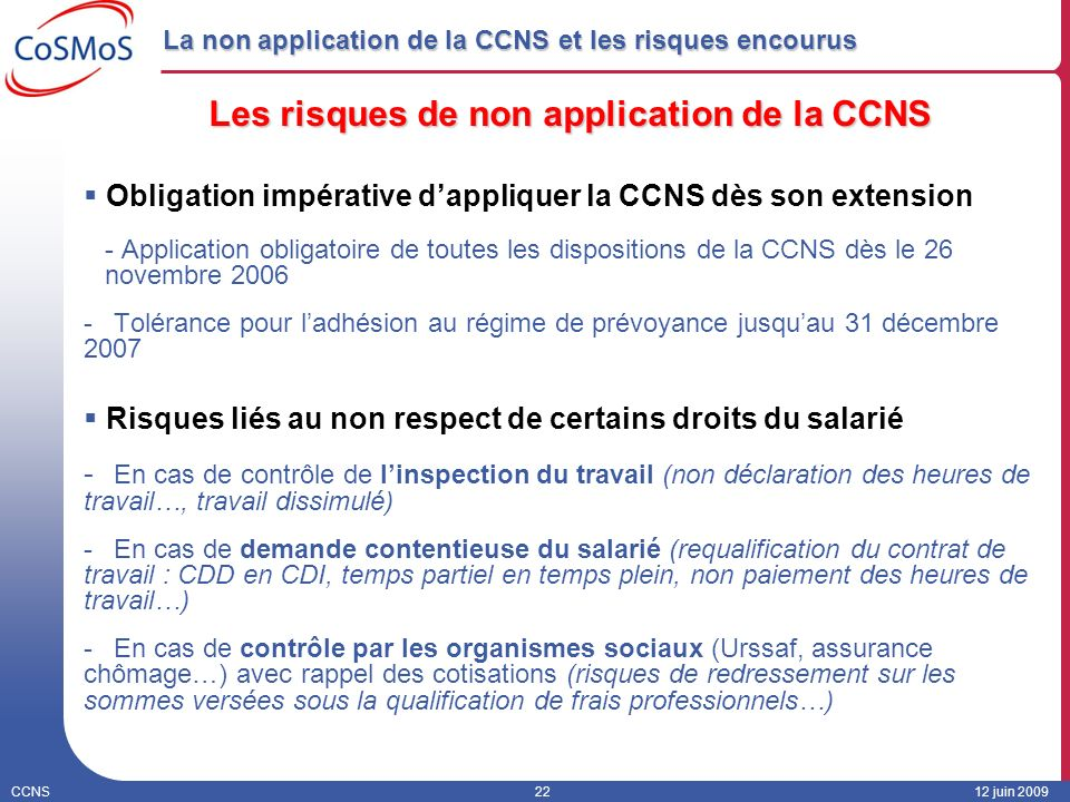 La non application de la CCNS et les risques encourus