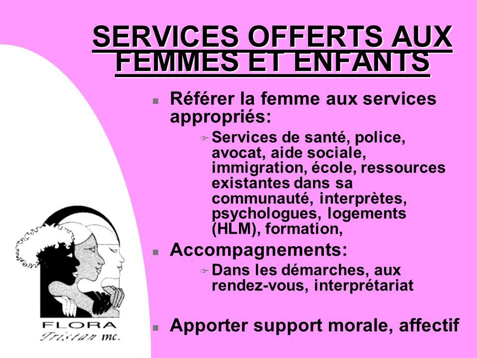 SERVICES OFFERTS AUX FEMMES ET ENFANTS