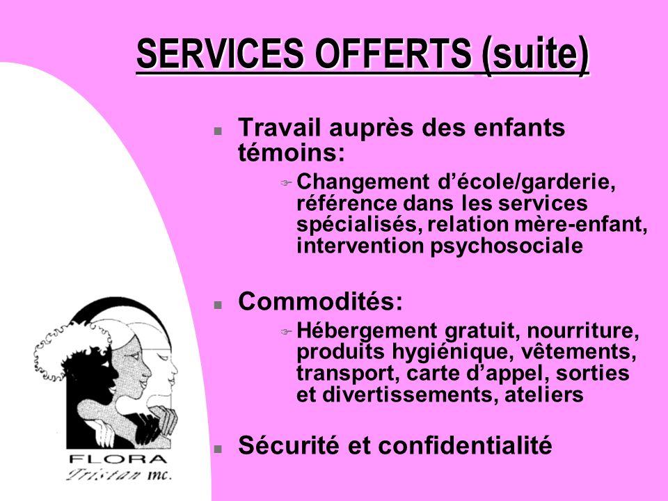 SERVICES OFFERTS (suite)
