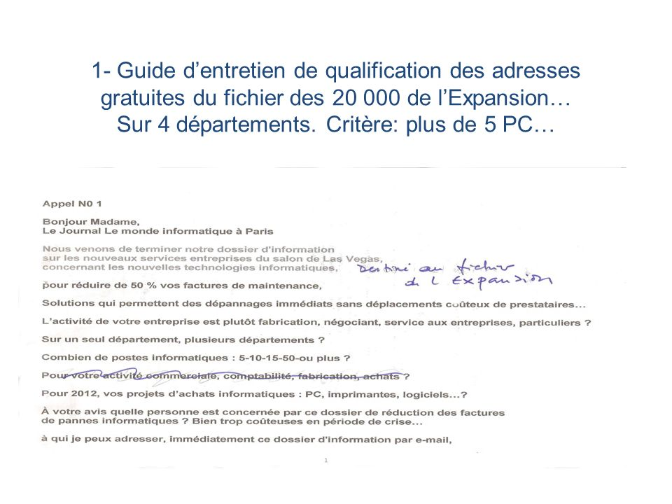 1- Guide d'entretien de qualification des adresses gratuites du fichier des 20 000 de l'Expansion… Sur 4 départements.