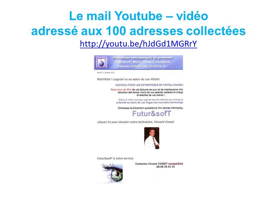 Le mail Youtube – vidéo adressé aux 100 adresses collectées http://youtu.be/hJdGd1MGRrY