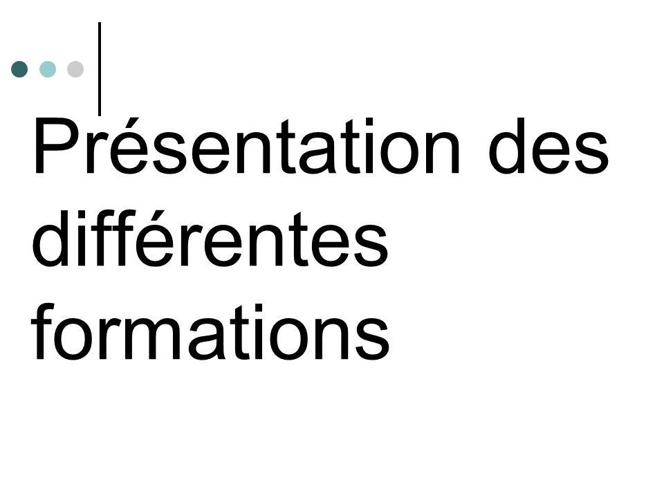 Présentation des différentes formations