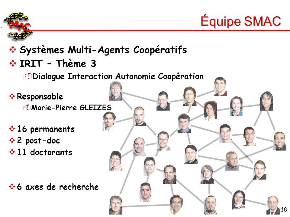 Équipe SMAC Systèmes Multi-Agents Coopératifs IRIT – Thème 3