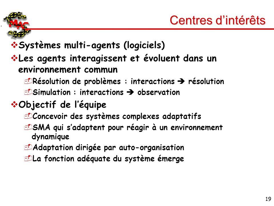Centres d'intérêts Systèmes multi-agents (logiciels)