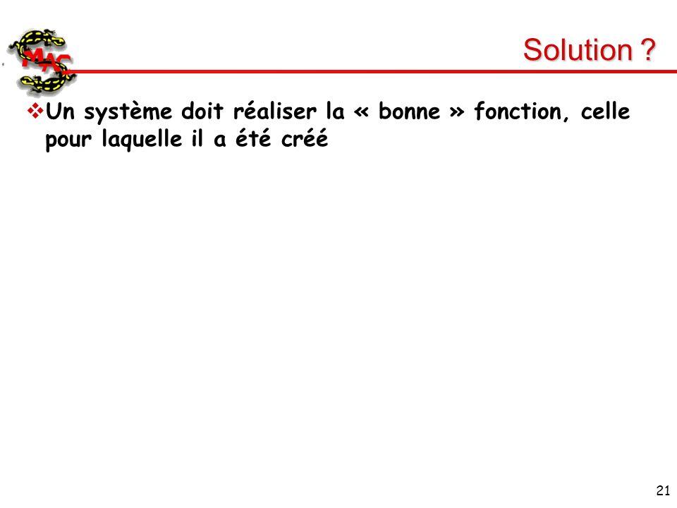 Solution Un système doit réaliser la « bonne » fonction, celle pour laquelle il a été créé