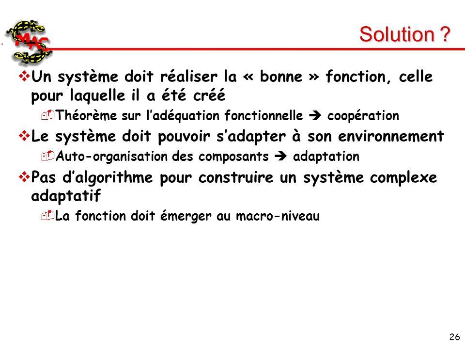 Solution Un système doit réaliser la « bonne » fonction, celle pour laquelle il a été créé. Théorème sur l'adéquation fonctionnelle  coopération.