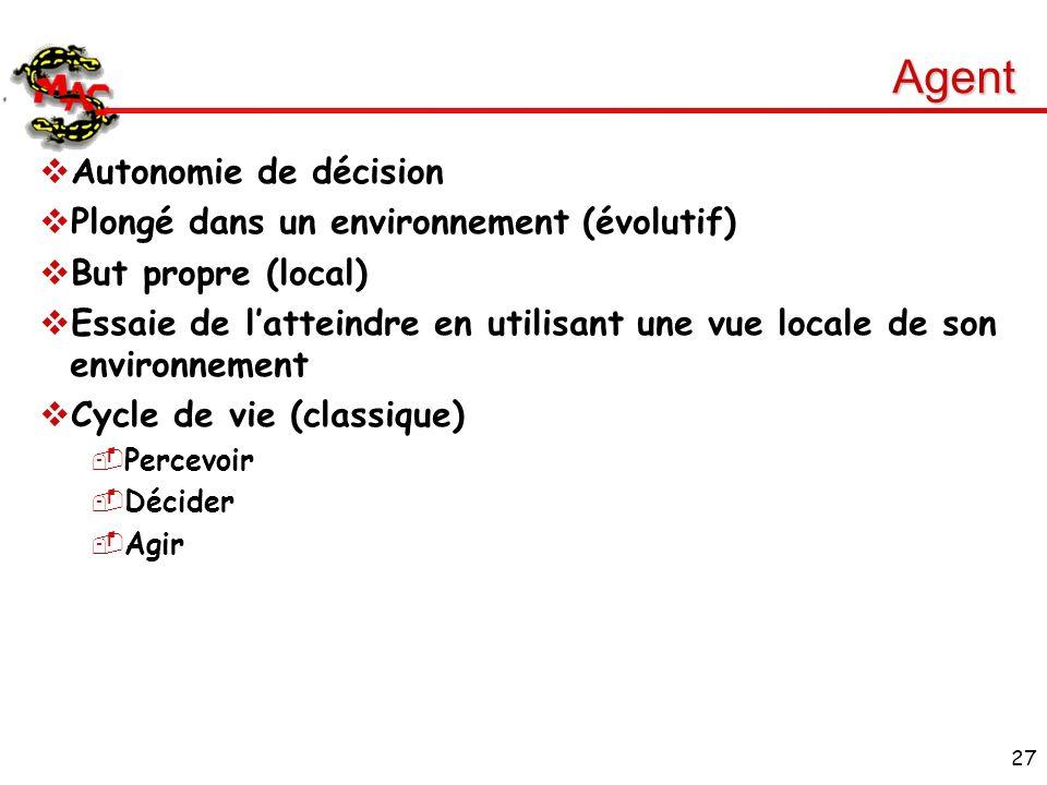 Agent Autonomie de décision Plongé dans un environnement (évolutif)