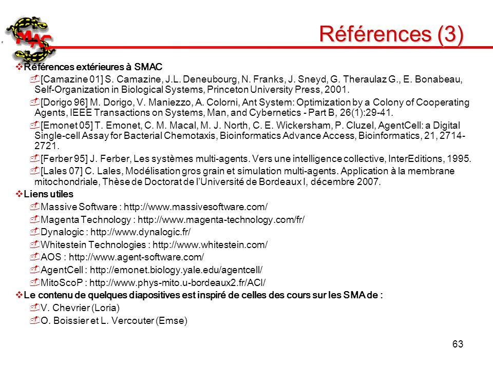 Références (3) Références extérieures à SMAC