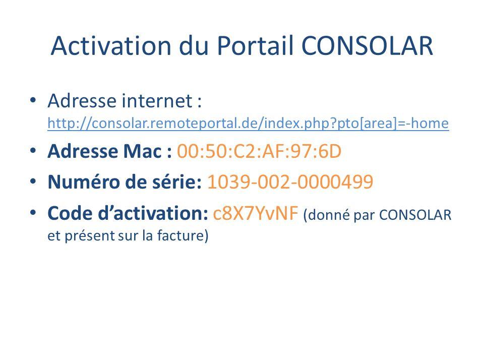 Activation du Portail CONSOLAR