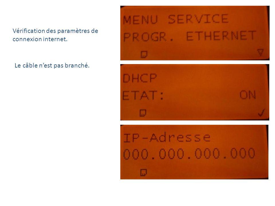 Vérification des paramètres de connexion internet.
