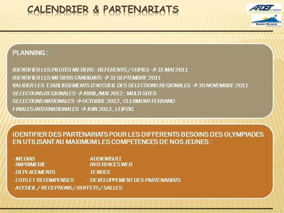 CALENDRIER & PARTENARIATS
