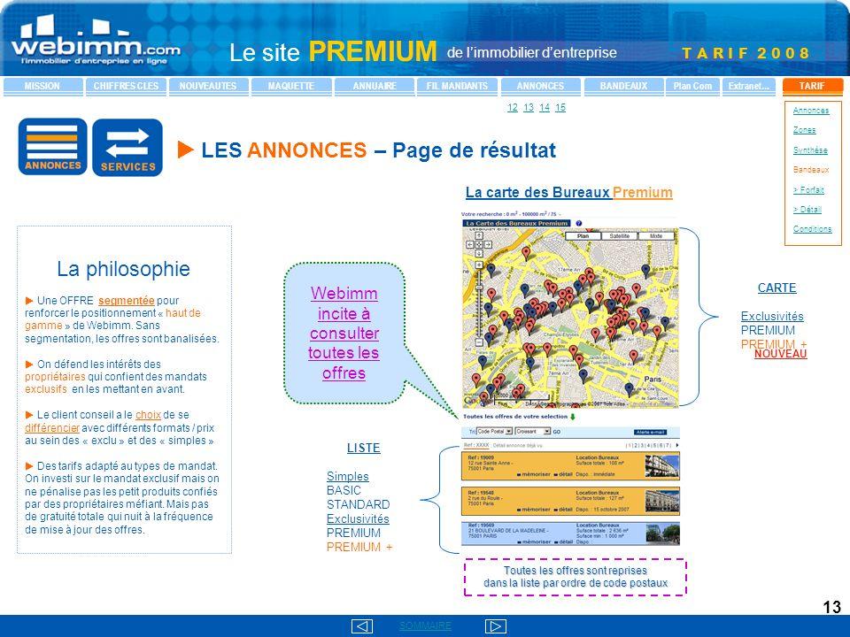 La carte des Bureaux Premium