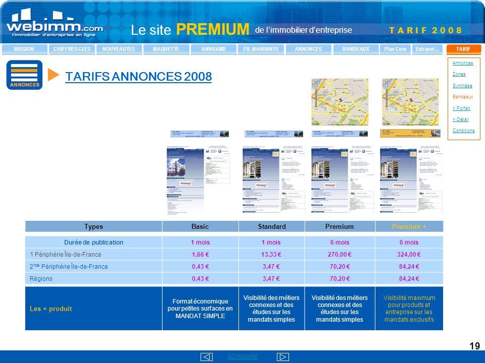 u TARIFS ANNONCES 2008 Types Basic Standard Premium Premium +