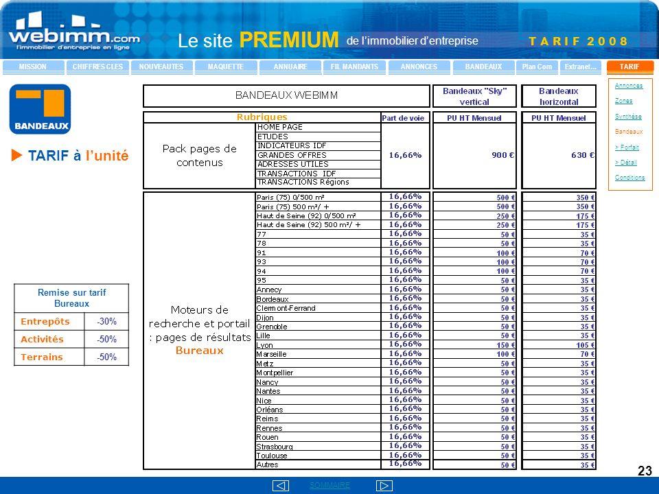 Remise sur tarif Bureaux