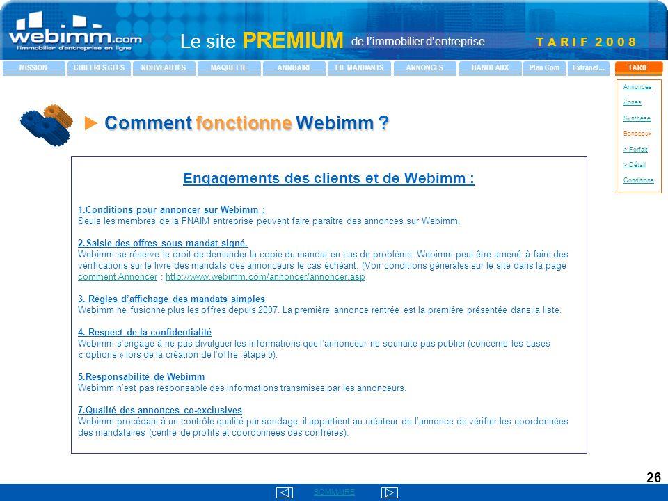Engagements des clients et de Webimm :