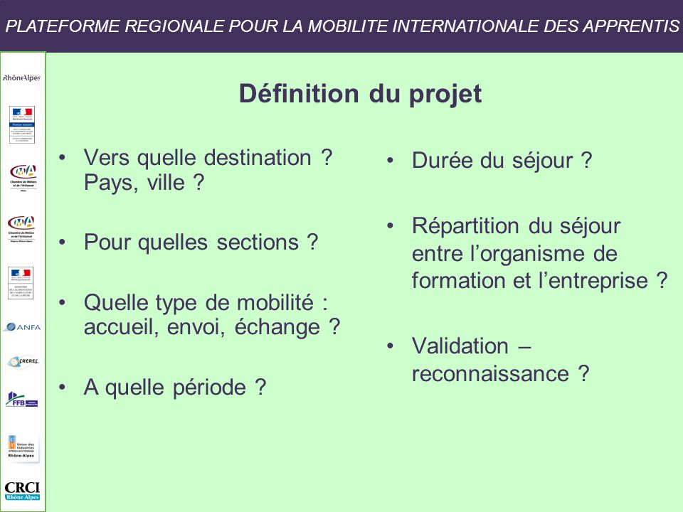 PLATEFORME REGIONALE POUR LA MOBILITE INTERNATIONALE DES APPRENTIS
