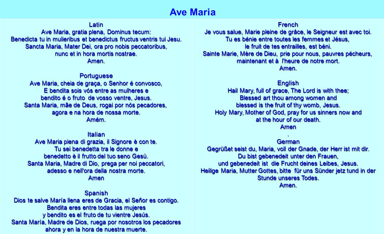 Ave Maria Latin Portuguese Italian Spanish French English German