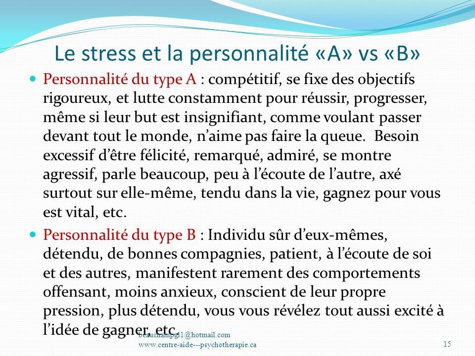 Le stress et la personnalité «A» vs «B»