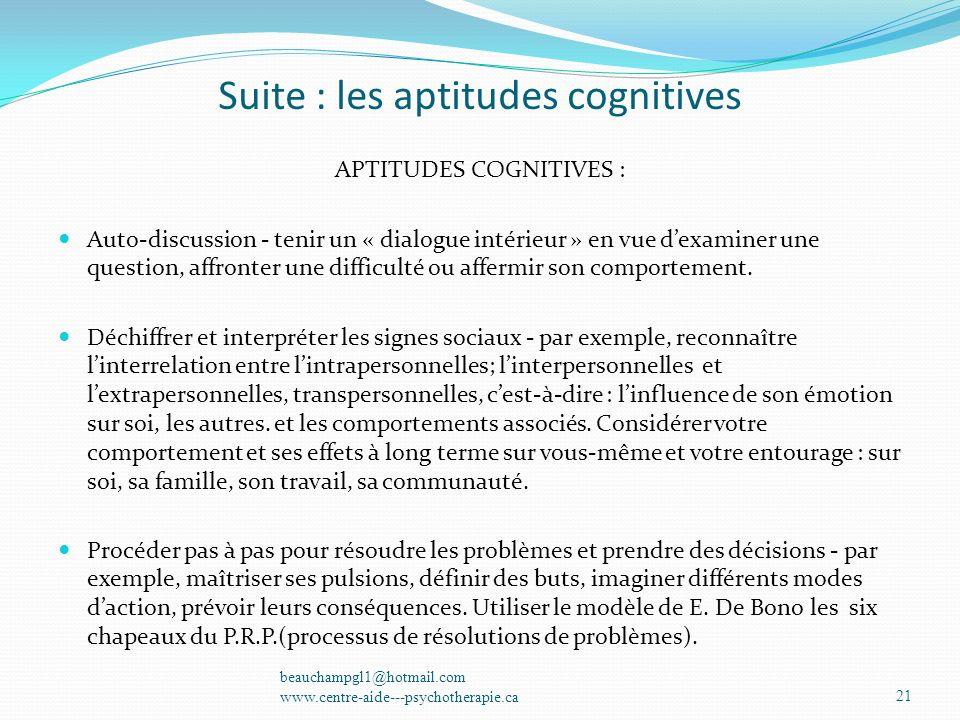Suite : les aptitudes cognitives