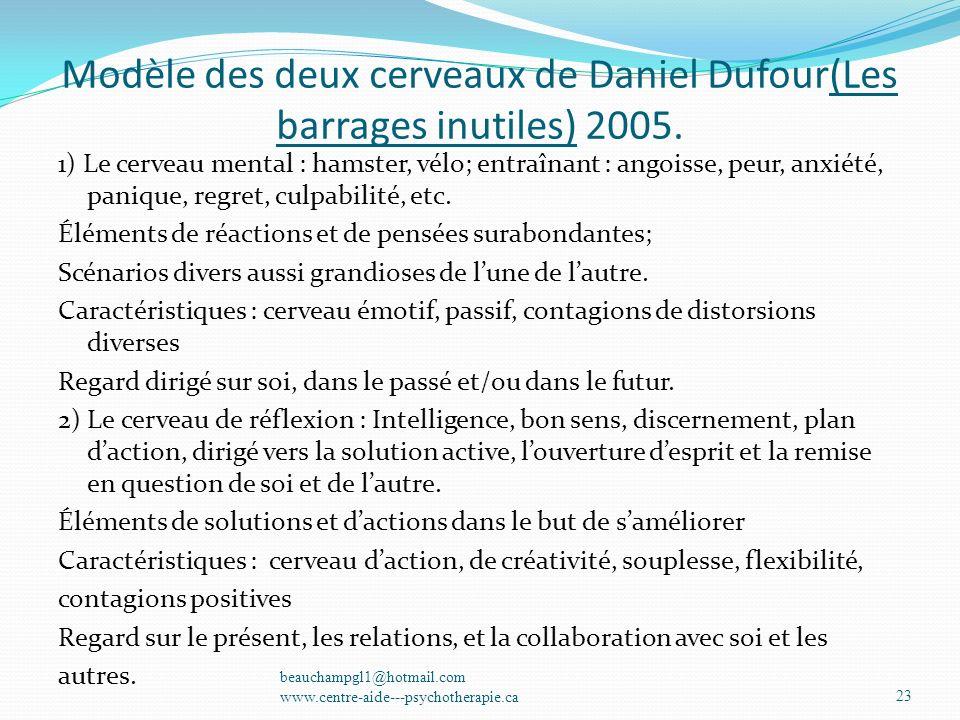 Modèle des deux cerveaux de Daniel Dufour(Les barrages inutiles) 2005.