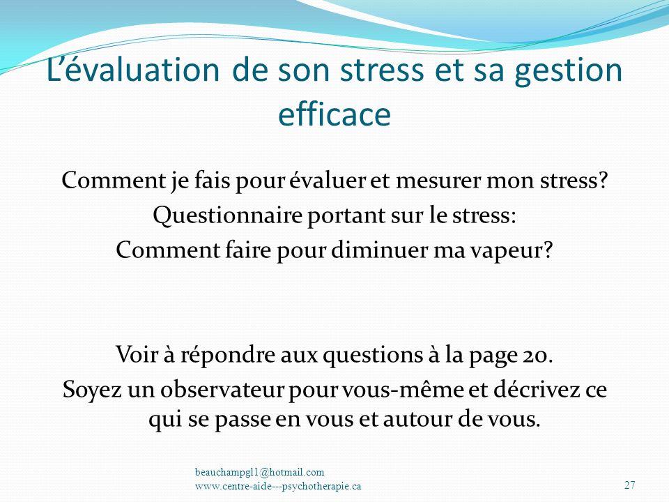 L'évaluation de son stress et sa gestion efficace
