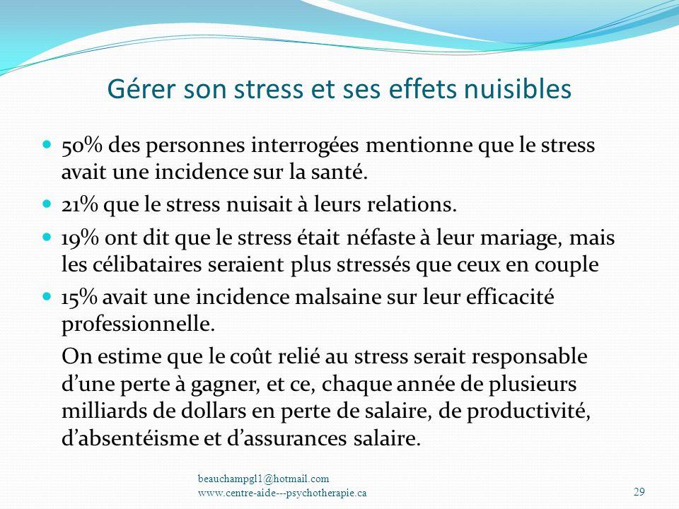 Gérer son stress et ses effets nuisibles