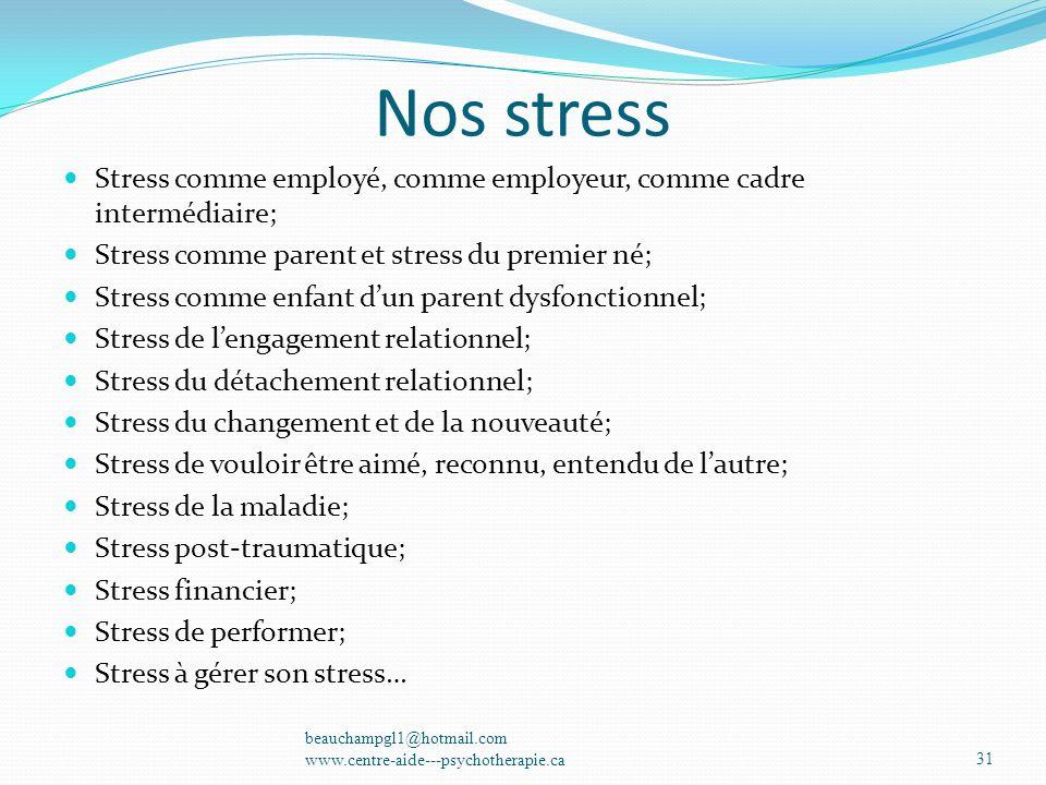 Nos stress Stress comme employé, comme employeur, comme cadre intermédiaire; Stress comme parent et stress du premier né;