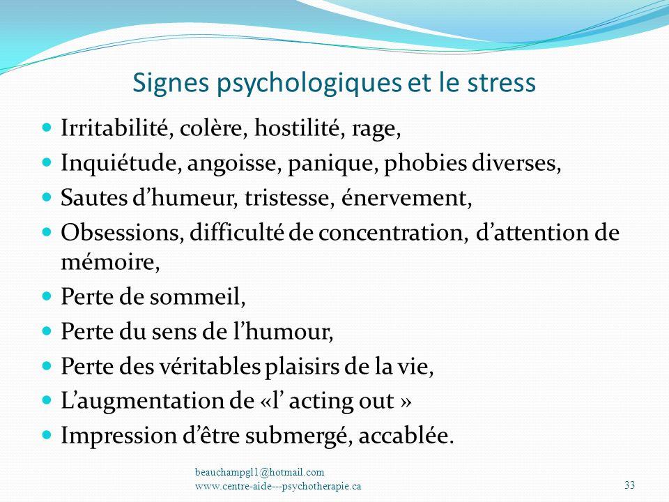 Signes psychologiques et le stress