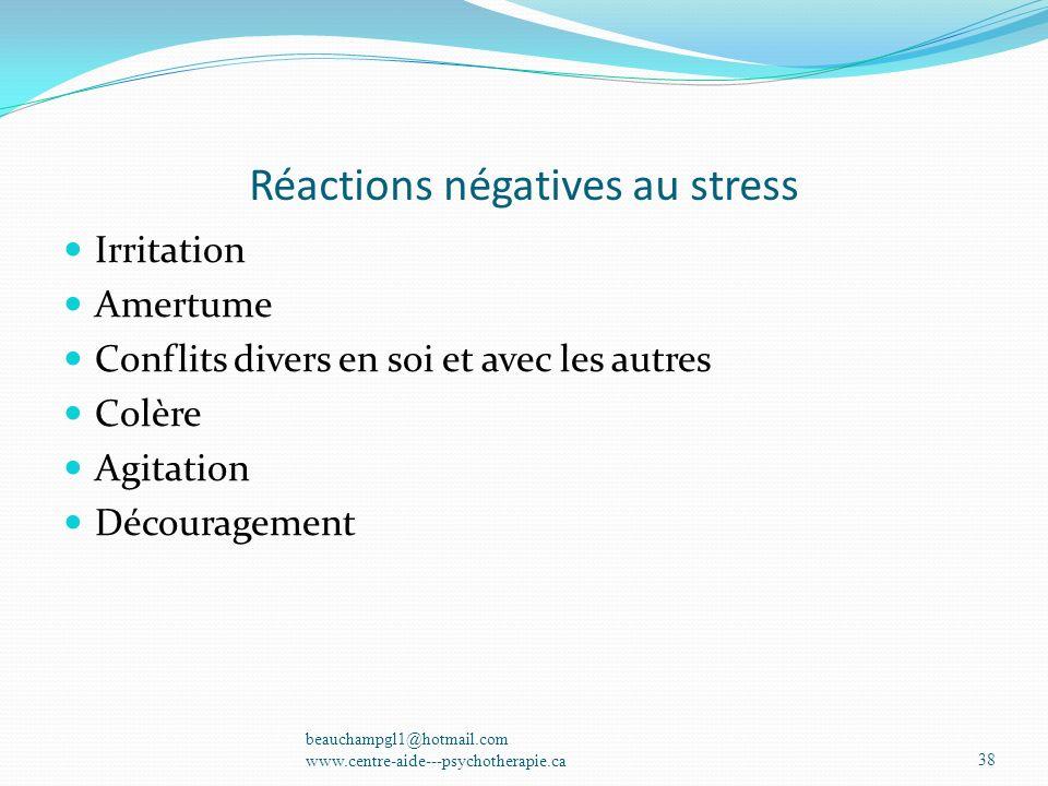 Réactions négatives au stress
