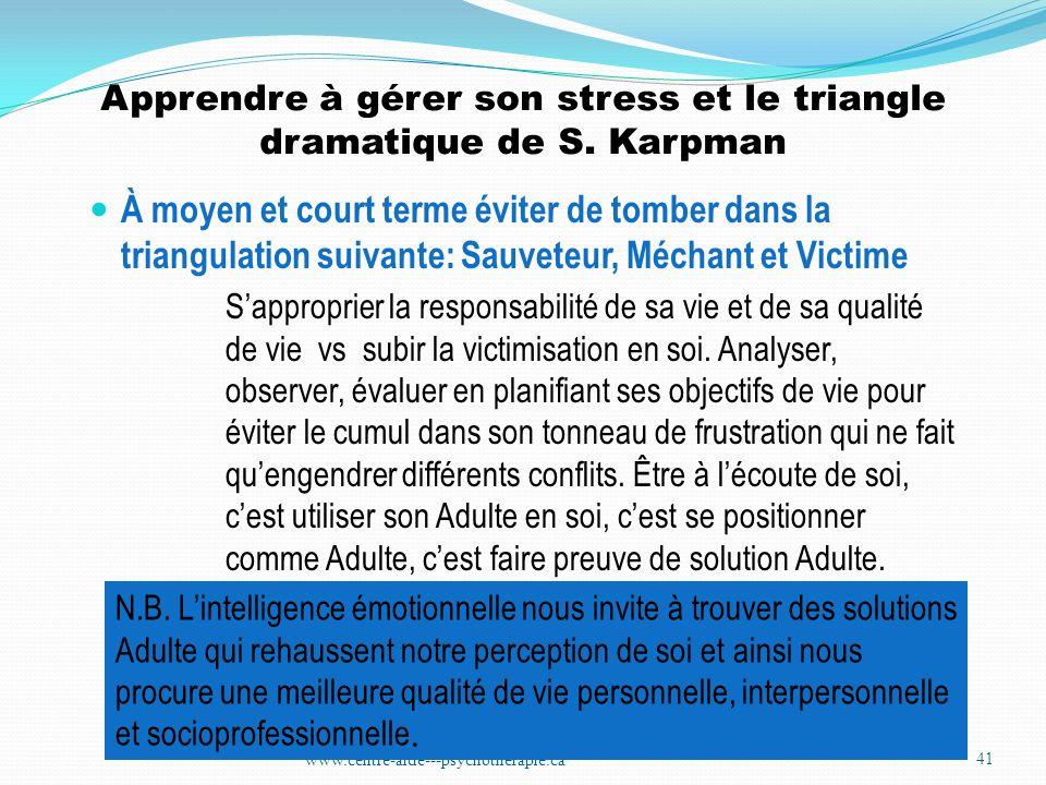 Apprendre à gérer son stress et le triangle dramatique de S. Karpman