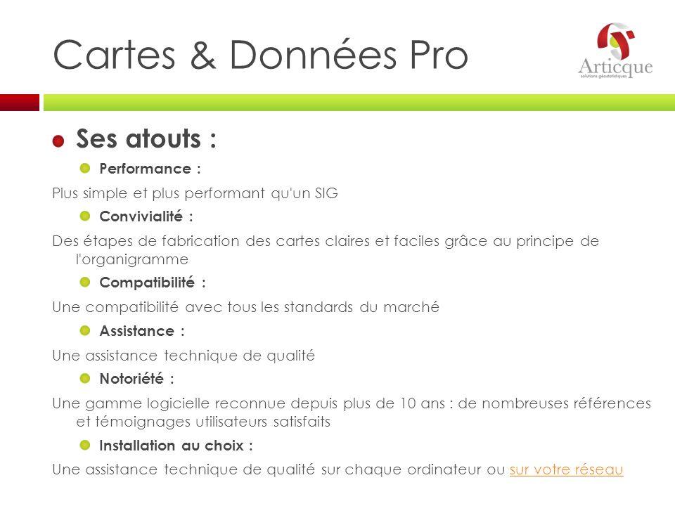 Cartes & Données Pro Ses atouts : Performance :