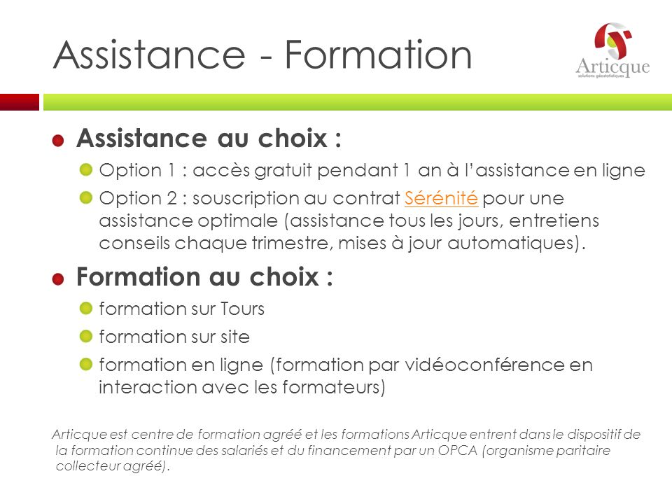 Assistance - Formation