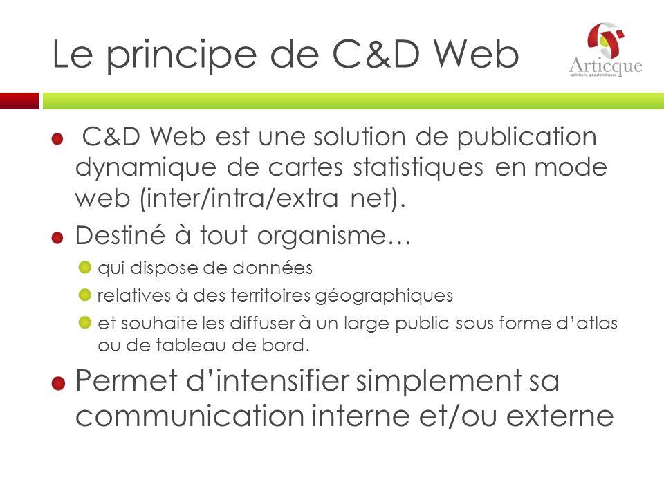 Le principe de C&D Web C&D Web est une solution de publication dynamique de cartes statistiques en mode web (inter/intra/extra net).