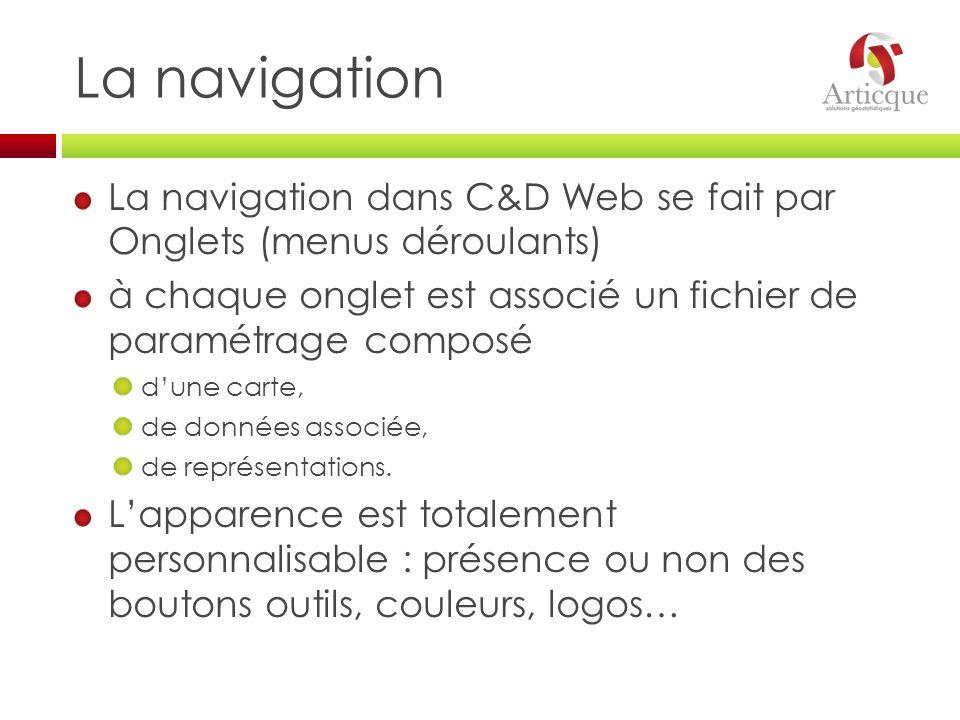 La navigation La navigation dans C&D Web se fait par Onglets (menus déroulants) à chaque onglet est associé un fichier de paramétrage composé.