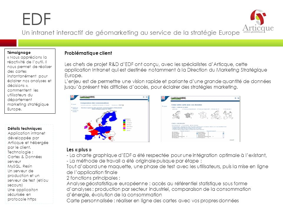 EDF Un intranet interactif de géomarketing au service de la stratégie Europe