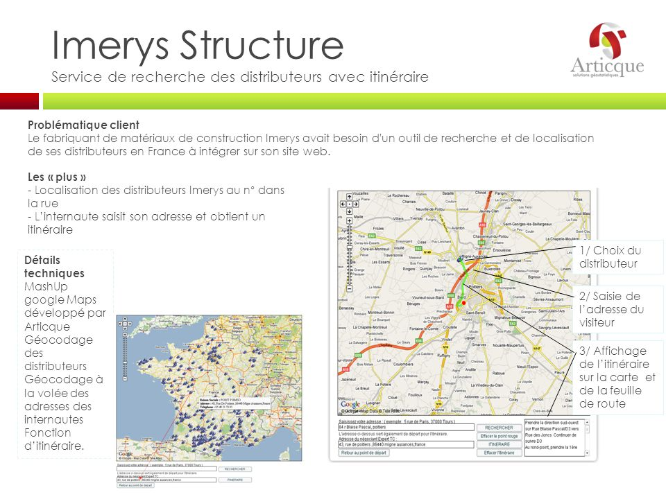 Imerys Structure Service de recherche des distributeurs avec itinéraire