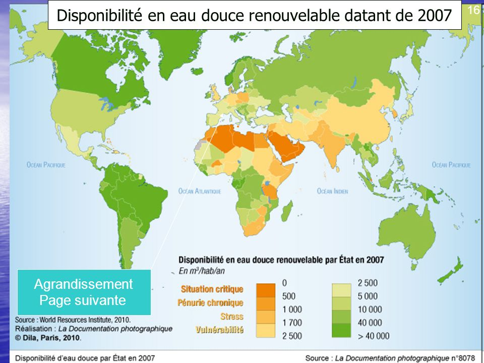 Disponibilité en eau douce renouvelable datant de 2007