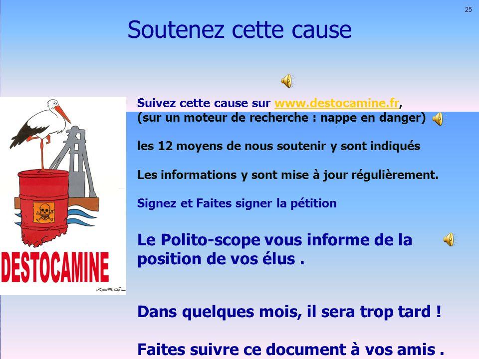 Soutenez cette cause 25. Suivez cette cause sur www.destocamine.fr, (sur un moteur de recherche : nappe en danger)