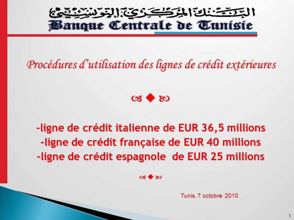 Procédures d'utilisation des lignes de crédit extérieures