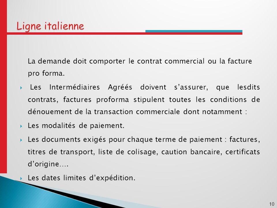 Ligne italienne La demande doit comporter le contrat commercial ou la facture pro forma.